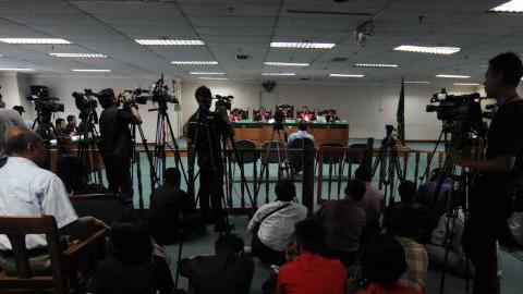 Suasana sidang kasus bioremediasi di Pengadilan Tipikor Jakarta Pusat.