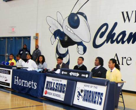 (pictured from left to right above) were Austin Weeks-University at Albany-SUNY, Que Cherry-Elizabeth City State University, Dontavious Jackson- Shaw University, Jordyn Smith-Howard University, Korrin Wiggins-Clemson University, Jaiven Knight- College of William & Mary, Dwight Campbell-N.C. State University and Cinco Simmons-Averett University.