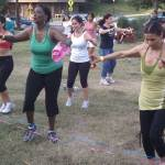 Participants show off their dance moves during a previous Zumbathon. This year's event will be held inside the Downtown Durham YMCA.