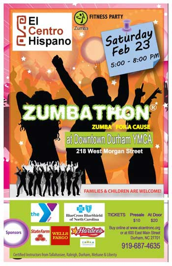 El Centro Hispano hosts the 2013 Zumbathon at the Downtown Durham YMCA this Saturday from 5 p.m. to 8 p.m.