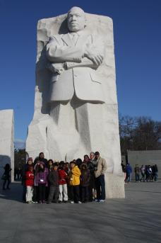 The students visit the Martin Luther King, Jr. Memorial in Washington, D.C. They visited several national monuments on their visit. (Photo courtesy of EDCI)