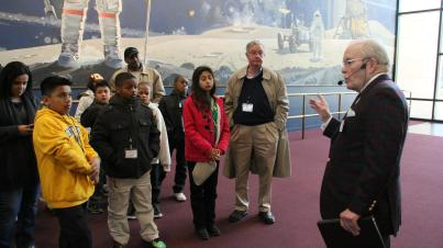 The students take a tour at the National Air and Space Museum, where they saw exhibits on crashed airplanes, rocket ships and the Wright brothers. (Photo courtesy of EDCI)