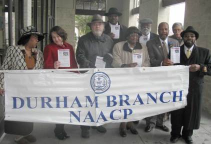 The marchers enter Markham Chapel Missionary Baptist Church.