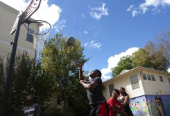 Darrius and Rhamir play basketball with some of the other kids at Genesis. The kids there become really close and the boys have made some good friends at Genesis.
