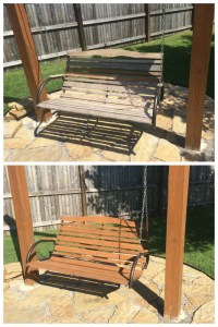 Before and after restaining bench