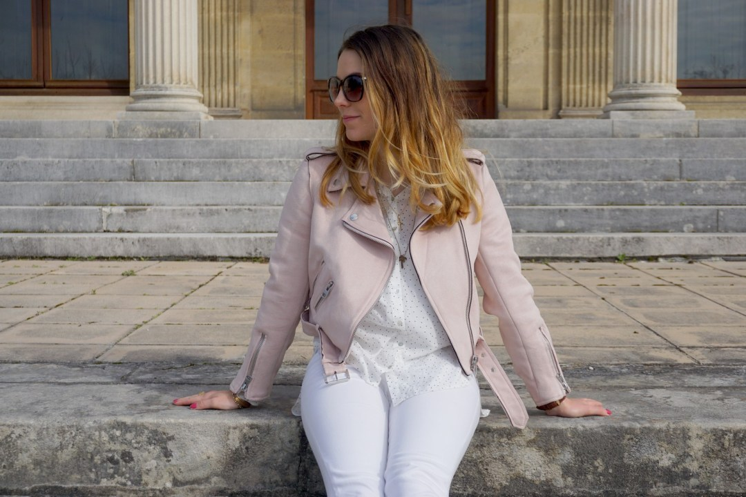 JOURNEE DE LA FEMME 2017 MARS LOOK PRINTEMPS GIRLY PERFECTO ROSE ZARA SUPERSTARS ADIDAS LOOK TOTAL WHITE FASHION BLOG MODE BLOGUEUSE BORDEAUX CORSE 13