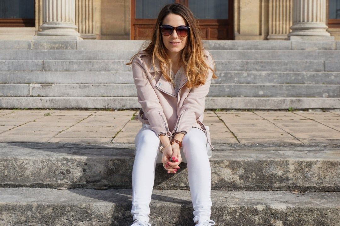 JOURNEE DE LA FEMME 2017 MARS LOOK PRINTEMPS GIRLY PERFECTO ROSE ZARA SUPERSTARS ADIDAS LOOK TOTAL WHITE FASHION BLOG MODE BLOGUEUSE BORDEAUX CORSE 20