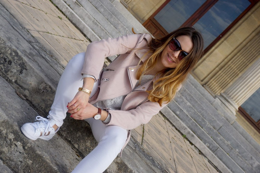 JOURNEE DE LA FEMME 2017 MARS LOOK PRINTEMPS GIRLY PERFECTO ROSE ZARA SUPERSTARS ADIDAS LOOK TOTAL WHITE FASHION BLOG MODE BLOGUEUSE BORDEAUX CORSE 22