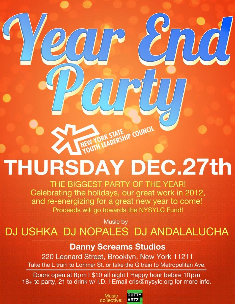 NYSYLC End of Year Party, Thurs Dec 27th. Location: Danny Screams Studios, 220 Leonard St