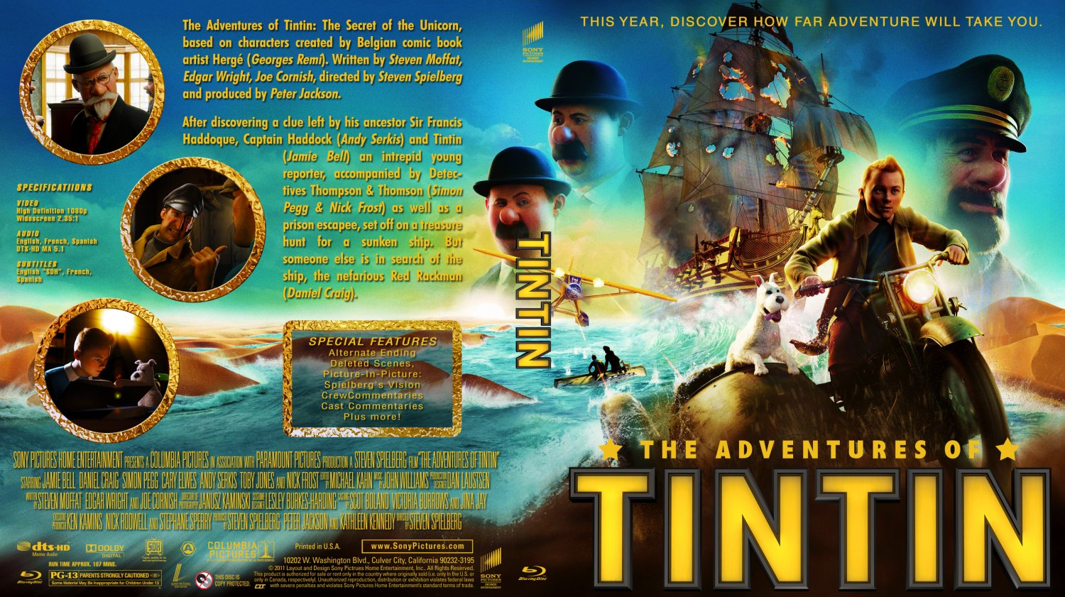 Download Filem The Adventures Of Tintin 2011 Bluray The Adventures of Tintin Movie Blu Ray Custom Covers x