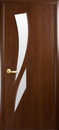 Двери Камея Новый Стиль орех со стеклом сатин