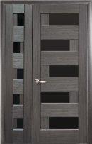 Полуторные двери Пиана с черным стеклом