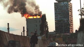 Zapaljene zgrade u Sarajevu