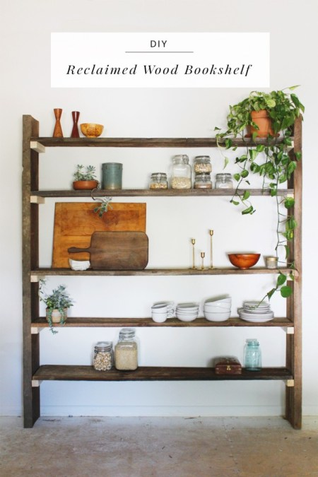 Think and make thursday party 42 dwell beautiful for Reclaimed wood bookshelf diy