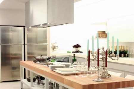 amazing kitchen with kitchen island integrated as the kitchen bar
