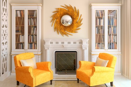 living room gold orange decor