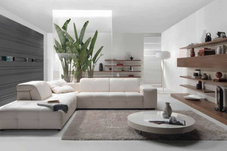 all white contemporary living room