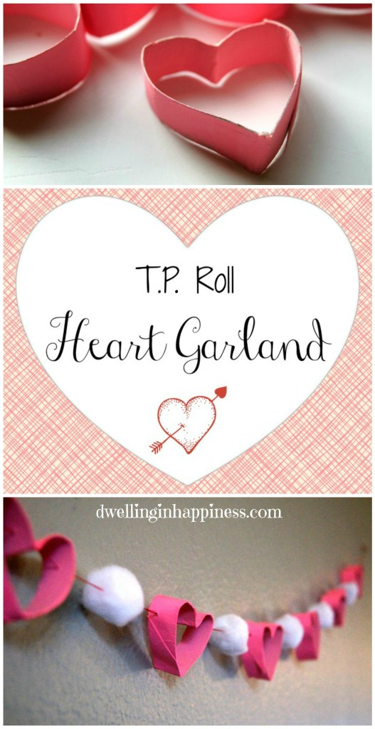 TP Roll Heart Garland from Dwelling in Happiness  | Your Turn to Shine Link Party Feature at anderson + grant