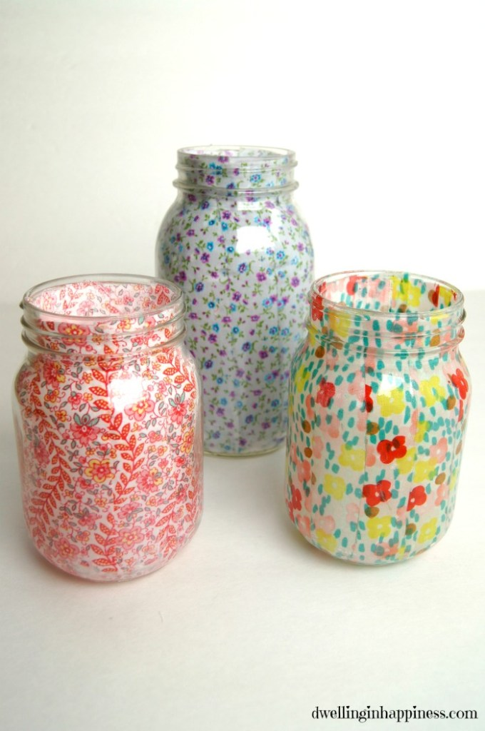 decoupage floral mason jar