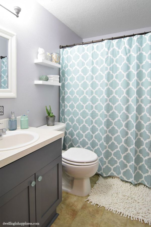 Light & Bright Guest Bathroom Makeover. Such an incredible transformation of a small bathroom space! From Dwelling in Happiness