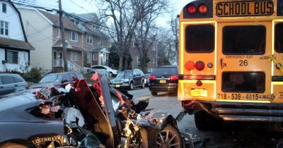 Crash of Song while DUI into back of parked school bus NY Queens 121815 photo courtesy of NY Daily News