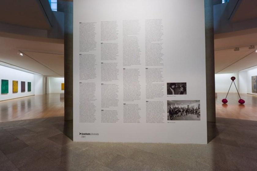 Vista de salas da exposición, con obras de la serie Ocultacións (2000), y escultura Cereixas (1992) Foto: ©MARCO Vigo/Enrique Touriño