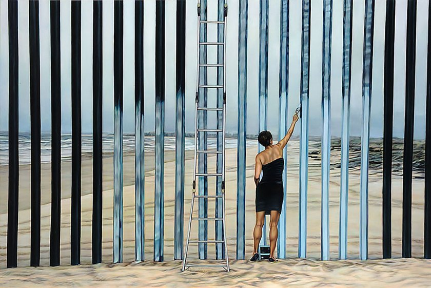 Ana Teresa Fernández, Erasing the Border (Borrando la Frontera), 2013, Oil on canvas, 48 x 72 inches. The Bedford Cherubino Collection