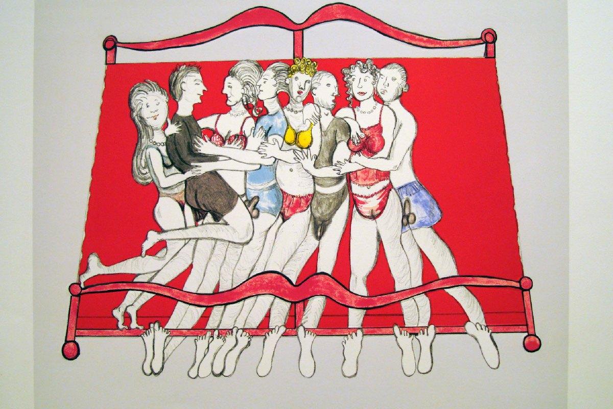 Bourgeois Louise. Eight in Bed 2000. Litografía gofrada 52x59,5 cm