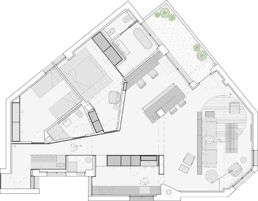 R APARTMENT. Francesc Rifé Studio. Planta Distribución