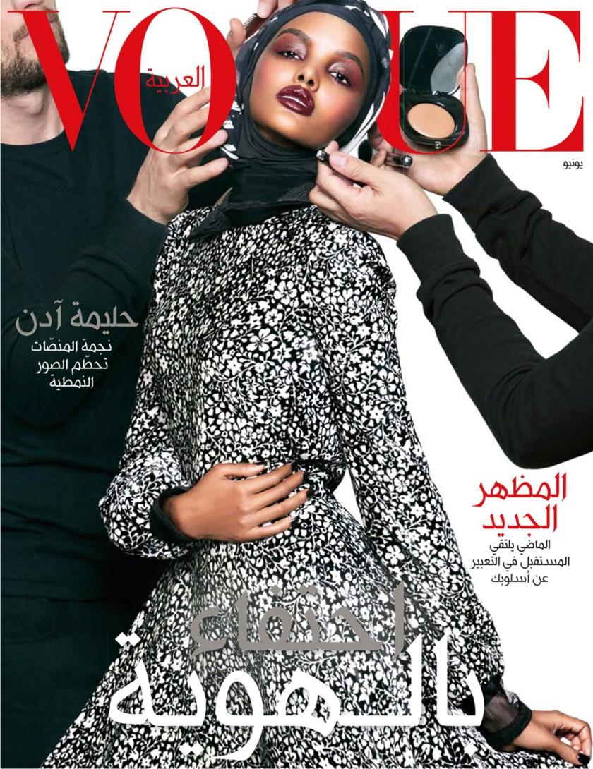 Halima Aden (portada de Vogue, diferentes versiones idiomáticas).