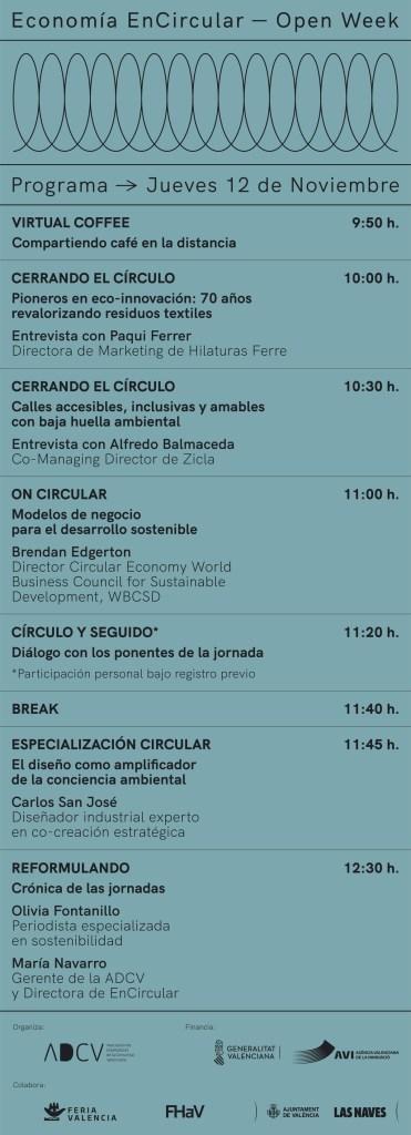 Programa Jornadas Encircular Jueves 12