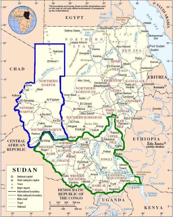 map sudan darfur