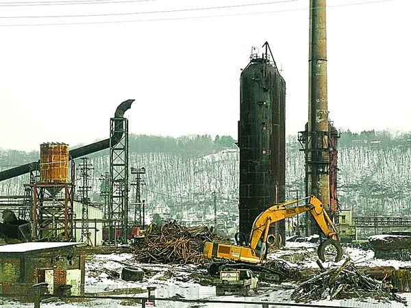 Steel mill demolition underway