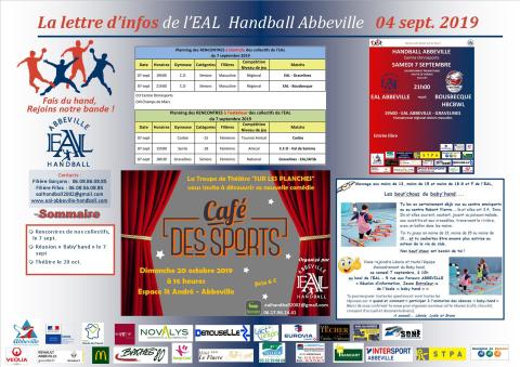 La Lettre d'infos EAL Handball Abbeville _5 sept 2019