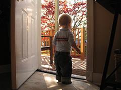 toddler boy standing in open doorway looking outside