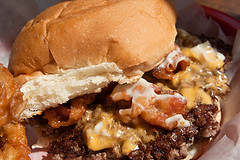 close up of bacon cheeseburger. yummmmm.