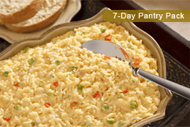 dish of pasta and vegetables from 7 day pantry pack of efoods direct