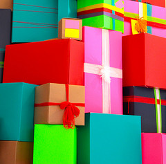 stack of wrapped presents