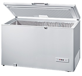 chest freezer with door open