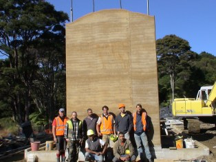 Tall rammed earth feature wall_Biobuild Ltd