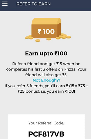 Frizza app refer