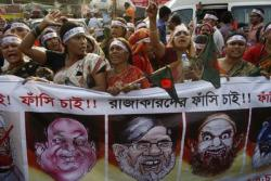 Women demanding the execution of Jamaat-e-Islami leader Abdul Quader Mollah and others recently convicted of war crimes, in Dhaka, Bangladesh, 13 Feb 2013. (Photo: AAP)
