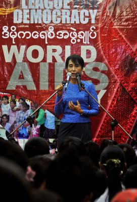 The Leader of the Opposition in Myanmar, Aung San Suu Kyi, speaks during an event marking the World AIDS day at the National League for Democracy (NLD) headquarters in Yangon on 1 December 2011 (Photo: AAP).