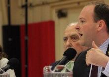 Anna Throne-Holst, moderator Peter Lowenstein and Lee Zeldin at Sunday's debate.