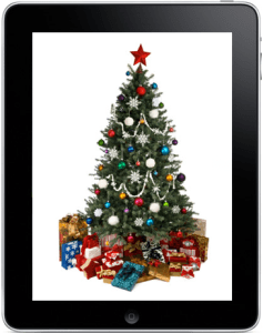 picture of christmas tree on an iPad
