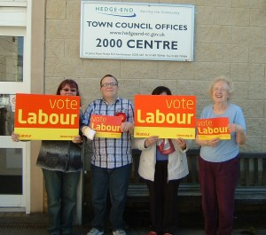Andrew Helps and Labour campaign team hold a surgery at Hedge End's 2000 Centre.