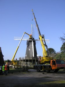 Sails being removed from Bursledon WIndmill, which will turn again...!