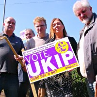 Youngsters tear down Ukip signs