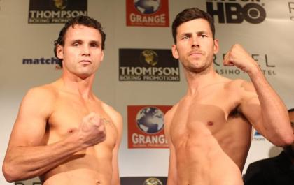 Official Weights from Atlantic City: Geale 159.5, Barker 159.5