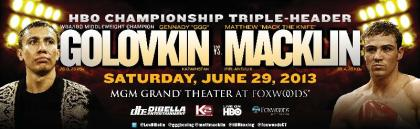 Golovkin Macklin tickets on sale WBA and IBO middleweight championship Saturday, June 29